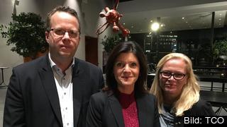 De fackliga ledarna Martin Linder, ordförande Unionen, Eva Nordmark, ordförande TCO och Britta Lejon ordförande Fackförbundet ST på det sociala EU-toppmötet i Göteborg.
