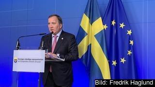 Statsminister Stefan Löfven håller presskonferens på fredagen efter veckans EU-toppmöte i Bryssel. Arkivbild.