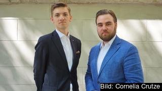 Hugo Selling, ordförande Fria Moderata Studentförbundet och Gustaf Reinfeldt, Internationell sekreterare Fria Moderata Studentförbundet.