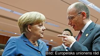 Tysklands Angela Merkel vill öka reformtakten i eurozonen.Italiens Enrico Letta kräver dock motprestationer i form av finansiellt stöd.