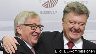 EU-kommissionens ordförande Jean-Claude Juncker och Ukrainas president Petro Porosjenko. Arkivbild.