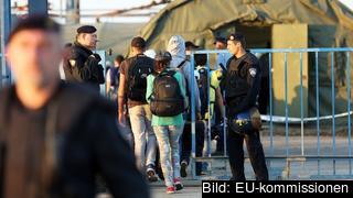 Flyktingar passerar gränsen till Kroatien. Arkivbild.