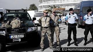 Frontex-vakter i Grekland. Arkivbild.
