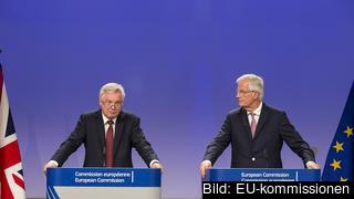 Storbritanniens brexitminister David Davis och EU:s chefsförhandlare Michel Barnier efter torsdagens förhandlingar.