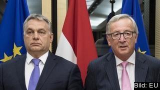 EU-kommissionens ordförande Jean-Claude Juncker och Ungerns premiärminister Viktor Orbán tillhör i dag EPP. Arkivbild.