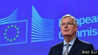 EU:s brexitförhandlare Michel Barnier. Britternas motsvarighet David Davis deltog till skillnad från tidigare inte i brexitförhandlingarna i Bryssel. Arkivbild.