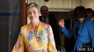 EU:s konkurrenskommissionär, den danska liberalen Margrethe Vestager, i samband med onsdagens kommissionärsmöte då beslutet om Googleboten togs. Arkivbild.