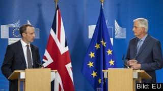 Den brittiske brexitministern Dominic Raab och EU:s brexitförhandlare Michel Barnier.