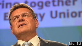 Maroš Šefčovič , EU-kommissionär med ansvar för energiunionen, vid tisdagens presskonferens i Bryssel.