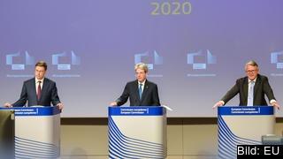 EU-kommissionärer Valdis Dombrovskis, Paolo Gentiloni och Nicolas Schmit.
