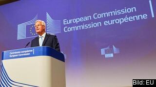 EU:s brexitförhandlare Michel Barnier vid fredagens presskonferens.