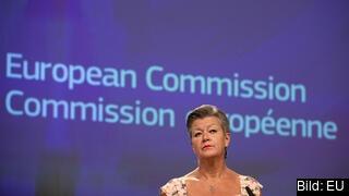 EU:s inrikes- och migrationskommissionär Ylva Johansson vid fredagens presentation.