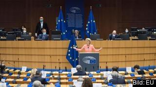 EU-kommissionens ordförande Ursula von der Leyen talar på onsdagen inför EU-parlamentet i Bryssel.