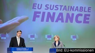 EU-kommissionärerna Valdis Dombrovskis och Mairead McGuinness presenterade EU:s taxonomi på onsdagen.