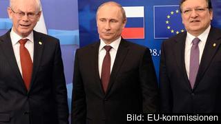 Europeiska rådets ordförande Herman van Rompuy, Rysslands president Vladimir Putin och EU-kommissionens ordförande Jo´se Manuel Barroso. Arkivbild.
