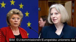 EU:s justitiekommissionär Viviane Reding och Storbritanniens inrikesminister Theresa May.