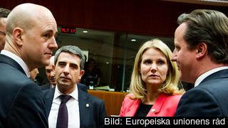 Fredrik Reinfeldt tillsammans med Bulgariens Rosen Plevneliev, Danmarks Helle Thorning-Schmidt och Storbritanniens David Cameron under EU-toppmötet i mars 2013.