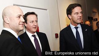 Statsminister Fredrik Reinfeldt, Storbritanniens David Cameron och Nederländernas Mark Rutte. Arkivbild.