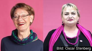 Partiledare Gudrun Schyman (FI) och Europaparlamentariker Soraya Post (FI).