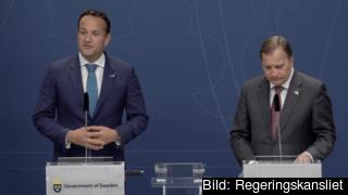 Irlands premiärminister Leo Varadkar och Sveriges statsminister Stefan Löfven vid torsdagens pressträff i Stockholm.