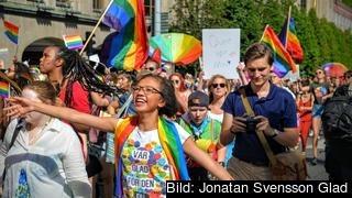 Många regnbågsfamiljer brukar delta på Stockholm Pride varje år. Arkivbild.