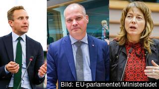 Europaparlamentariker Tomas Tobé (M), justitie- och migrationsministern Morgan Johansson (S) och Europaparlamentariker Malin Björk (V) om aktuell migrationspolitik.