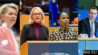 EU-kommissionens ordförande Ursula von der Leyen, EU-parlamentariker Heléne Fritzon (S), Alice Bah Kuhnke (MP) och Tomas Tobé (M).