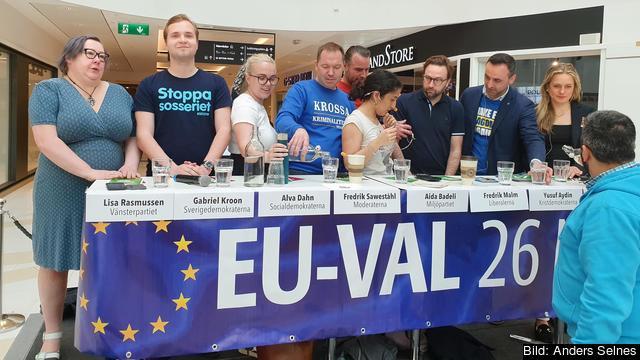 Valdebatt i Nacka Forum mellan partiföreträdare och kandidater i EU-valet 2019.