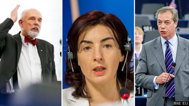 FV: Janusz Korwin-Mikke, Polen, Giulia Moi, Italien och Nigel Farage, Storbritannien.  Bilden är ett montage.