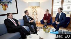 """Ledarna för de fyra """"sparsamma"""" EU-länderna Sverige, Nederländerna, Danmark och Österrike. Arkivbild."""