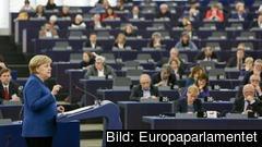 Tysklands förbundskansler Angela Merkel talade om EU:s framtid i Europaparlamentet på tisdagen.