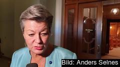 Sveriges EU-kommissionär Ylva Johansson direkt efter att hon pratat migrationspolitik med riksdagens utrikesutskott.