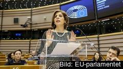 EU:s hälsokommissionär Stella Kyriakides under tisdagens coronadebatt i EU-parlamentet. i Bryssel.