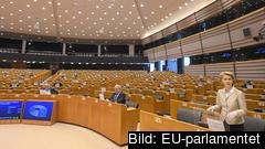 EU-kommissionens ordförande Ursula von der Leyen talade på torsdagen inför ett nästintill tomt EU-parlament i Bryssel
