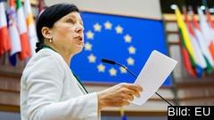 EU:s justitiekommissionär Věra Jourová, en tjeckisk liberal, under torsdagens debatt i EU-parlamentet