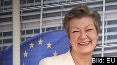 Ylva Johansson är glad och optimistisk efter sitt möte med sin möjliga framtida chef Ursula von der Leyen. Arkivbild.