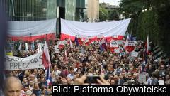 Protester i Polen 2018 för Högsta domstolens oberoende. Arkivbild.