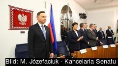 Polens sittande president Andrzej Duda i parlamentets överhus, senaten. Arkivbild.