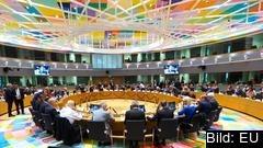 EU-ministrarna under måndagens möte i Bryssel där Ungern utfrågades om hot mot rättsstatlighet och andra grundläggande demokratiska principer.