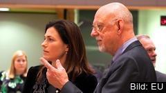 Ungerns justitieminister Judit Varga i samtal med Sveriges EU-minister Hans Dahlgren under tisdagens möte.