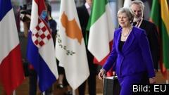Storbritanniens premiärminister Theresa May på väg in till onsdagens EU-toppmöte.