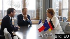 Frankrikes president Emmanuel Macron, Europeiska rådets ordförande Donald Tusk och Tysklands förbundskansler Angela Merkel träffas separat inför torsdagens EU-toppmöte.