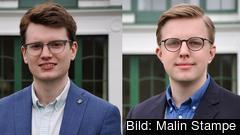 Från vänster: Simon Palme förbundsordförande Centerstudenter och Tobias Samuelsson ordförande Centerstudenters Europapolitiska arbetsgrupp.