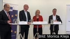 Karl-Petter Thorwaldsson, Jörgen Warborn, Heléne Fritzon och Jan-Olof Jacke gästade på torsdagen Europahuset i Stockholm.