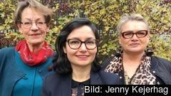 FV: Partiledare för Fi, Grudrun Schyman, partiledare för Fi Gita Nabavi, EU-ledamot Soraya Post Fi.