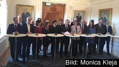 Nya regeringen Löfvens första presskonferens i riksdagshuset 21 januari 2019.