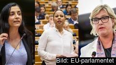 EU-parlamentarikerna Evin Incir (S), Alice Bah Kuhnke (MP) och Karin Karlsbro (L).