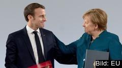 Frankrikes president Emmanuel Macron och den tyska förbundskanslern Angela Merkel under signeringen av Aachenavtalet.