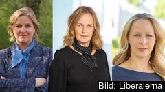 Europaparlamentariker Karin Karlsbro (L), partisekreterare Juno Blom (L) och Cecilia Elving (L) ordförande Liberala Kvinnor.