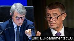 EU-parlamentets talman David Sassoli förklarar för Tjeckiens premiärminister Andrej Babiš att EU-parlamentet har rätt att utreda misstänkt fusk med EU-budgeten. Arkivbild.
